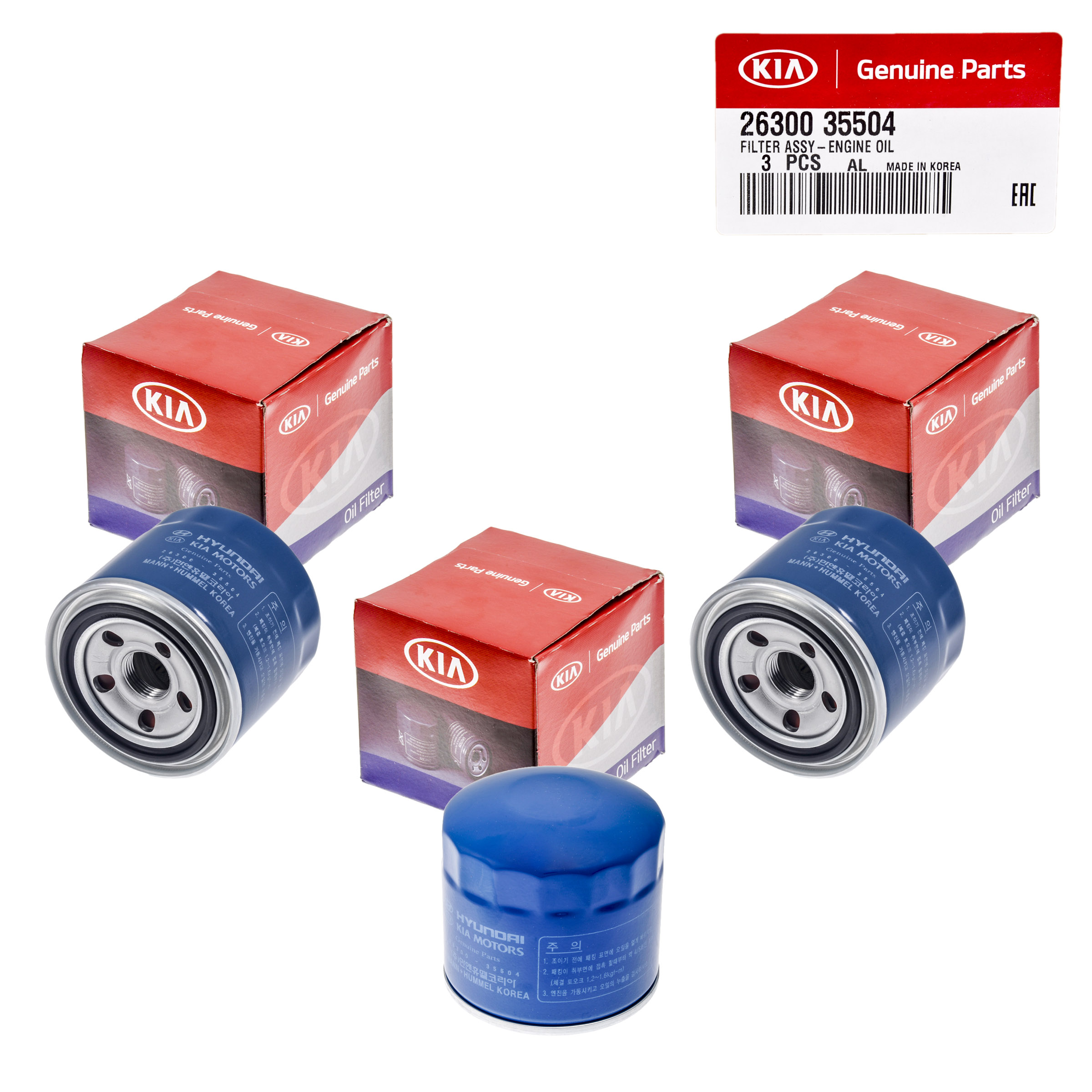Set Of 3 Genuine OEM Oil Filter 26300-35504 For Kia Soul Optima Sportage 72-16