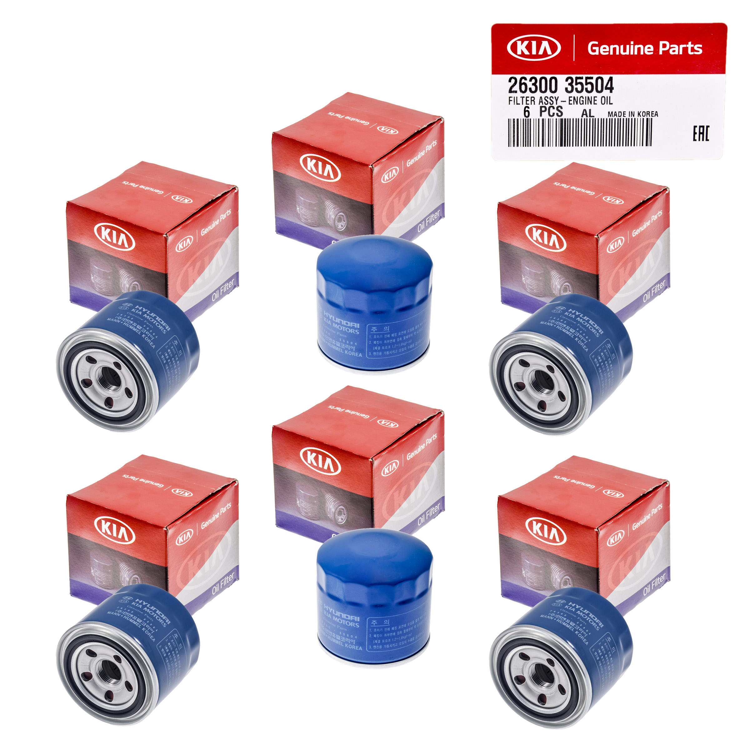 Set Of 6 Genuine Oem Oil Filter 26300